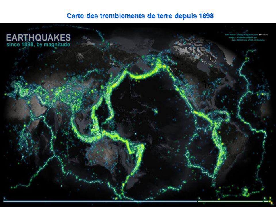Carte des tremblements de terre depuis 1898