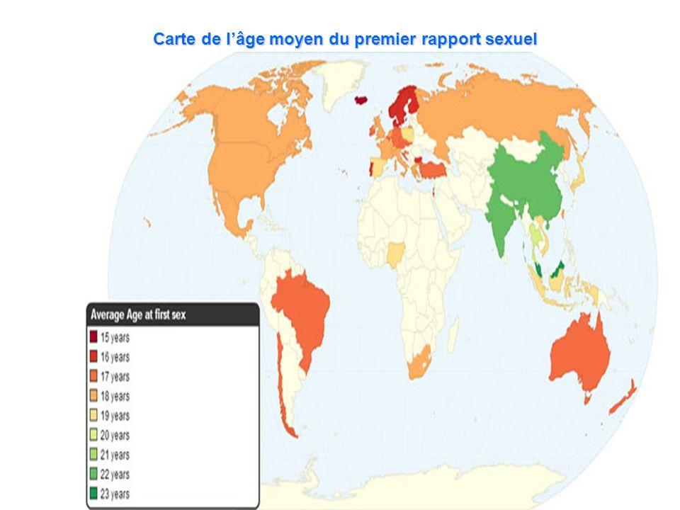 Carte de lâge moyen du premier rapport sexuel