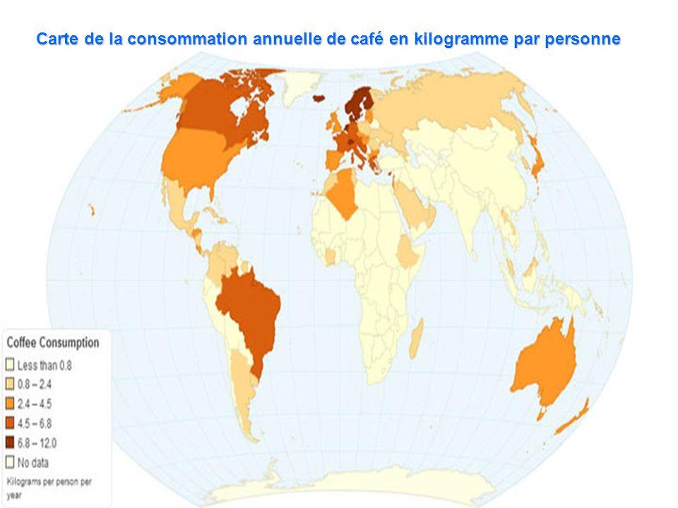 Carte de la consommation annuelle de café en kilogramme par personne