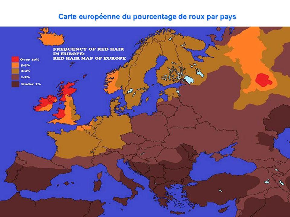 Carte européenne du pourcentage de roux par pays