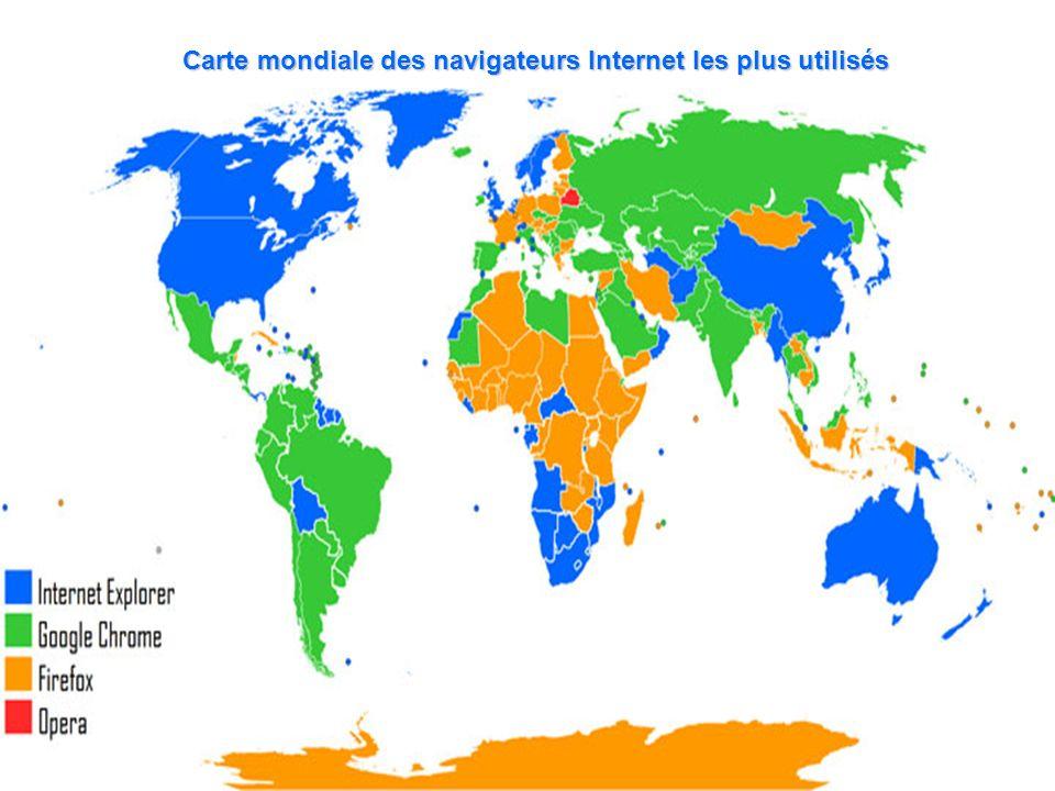 Carte mondiale des navigateurs Internet les plus utilisés