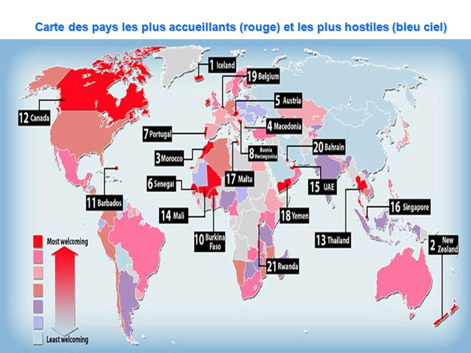 Carte des pays les plus accueillants (rouge) et les plus hostiles (bleu ciel)