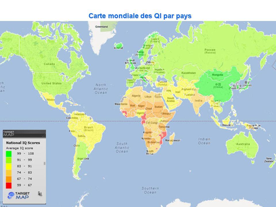 Carte mondiale des QI par pays