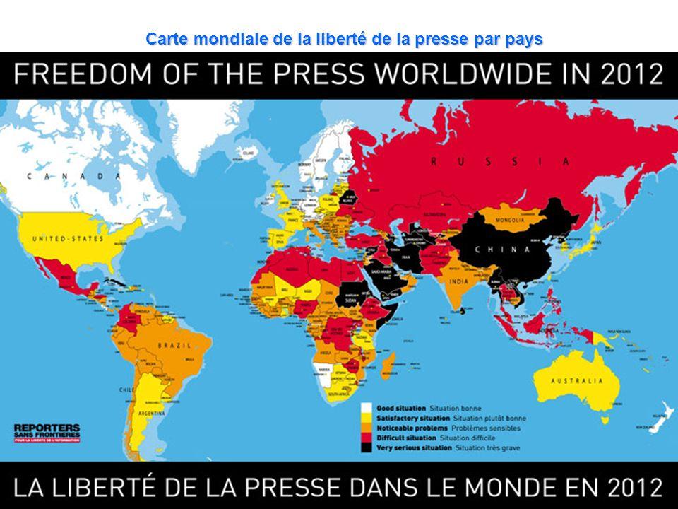Carte mondiale de la liberté de la presse par pays
