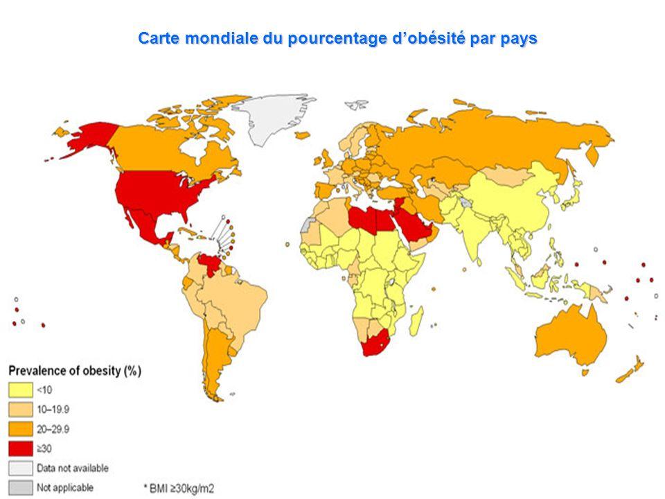 Carte mondiale du pourcentage dobésité par pays