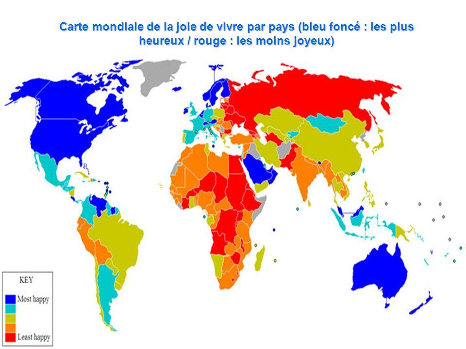 Carte mondiale de la joie de vivre par pays (bleu foncé : les plus heureux / rouge : les moins joyeux)