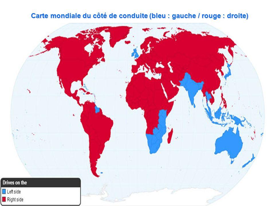 Carte mondiale du côté de conduite (bleu : gauche / rouge : droite)