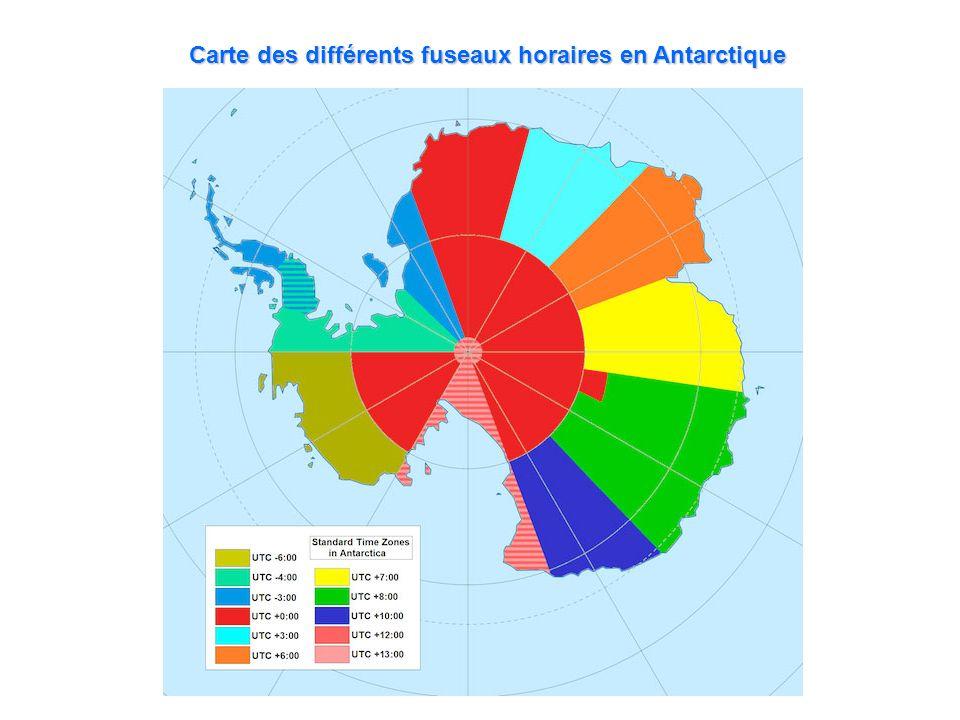 Carte des différents fuseaux horaires en Antarctique