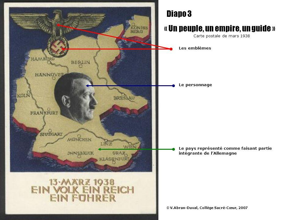 Hitler a annexé lAutriche en mars 1938, cest lAnschluss « Un peuple, un empire, un guide » Carte postale de mars 1938 Diapo 4 © V.Abran-Duval, Collège Sacré-Cœur, 2007