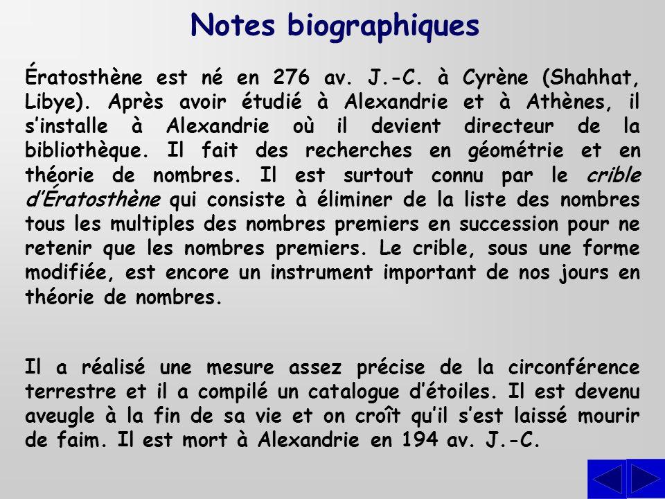 Ératosthène est né en 276 av. J.-C. à Cyrène (Shahhat, Libye). Après avoir étudié à Alexandrie et à Athènes, il sinstalle à Alexandrie où il devient d