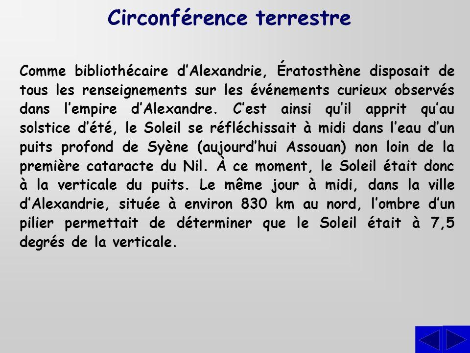 Comme bibliothécaire dAlexandrie, Ératosthène disposait de tous les renseignements sur les événements curieux observés dans lempire dAlexandre. Cest a