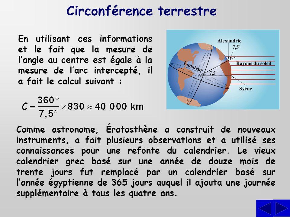 En utilisant ces informations et le fait que la mesure de langle au centre est égale à la mesure de larc intercepté, il a fait le calcul suivant : Com