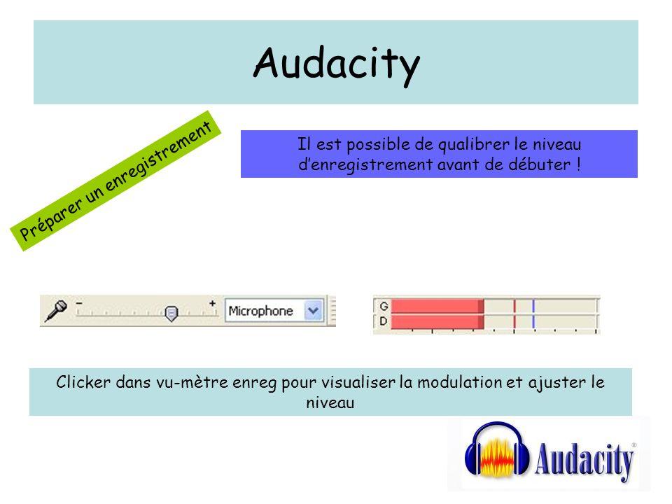Audacity Préparer un enregistrement Il est possible de qualibrer le niveau denregistrement avant de débuter .