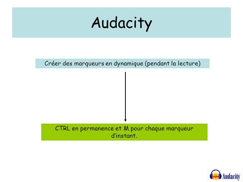 Audacity Créer des marqueurs en dynamique (pendant la lecture) CTRL en permanence et M pour chaque marqueur dinstant.