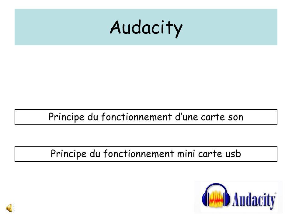Audacity traiter son Sortie analogique stéréo pour enceintes amplifiées CNACAN Entrée micro mono Entrée ligne stéréo Contrôle assuré par logiciel Carte son interne / carte son externe USB