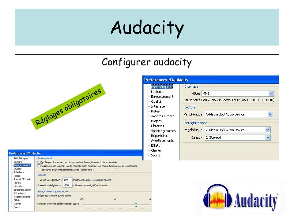 Audacity Configurer audacity Réglages obligatoires