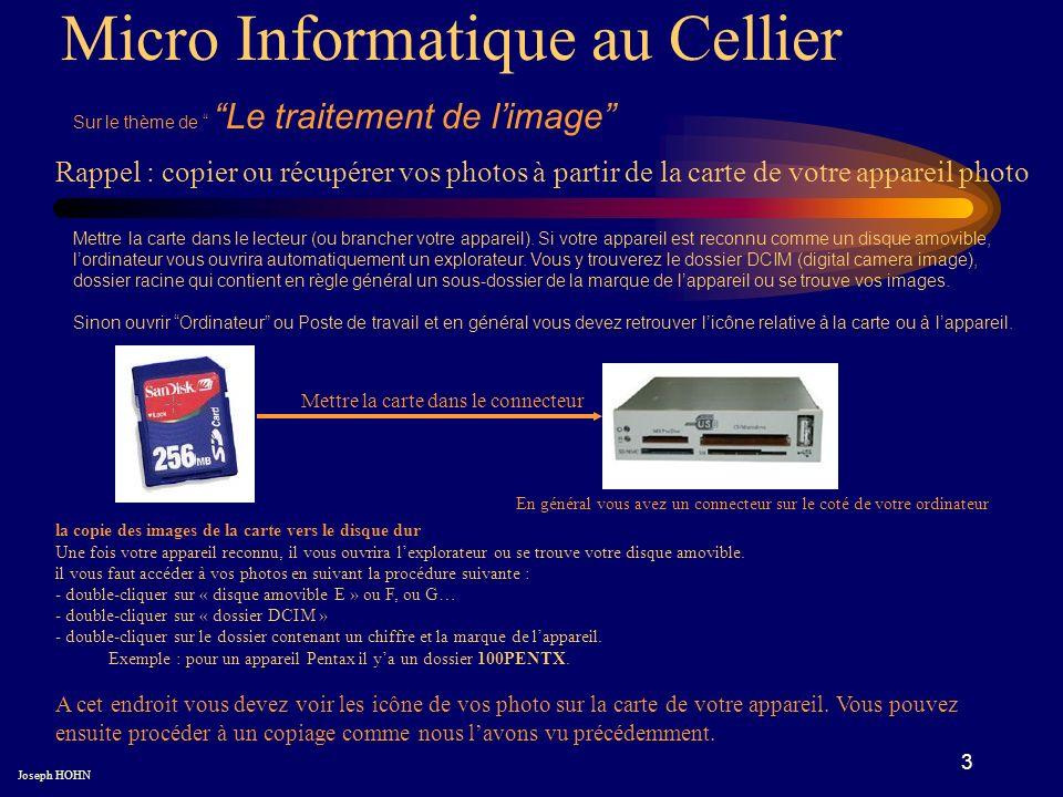 3 Micro Informatique au Cellier Sur le thème de Le traitement de limage Joseph HOHN Rappel : copier ou récupérer vos photos à partir de la carte de vo
