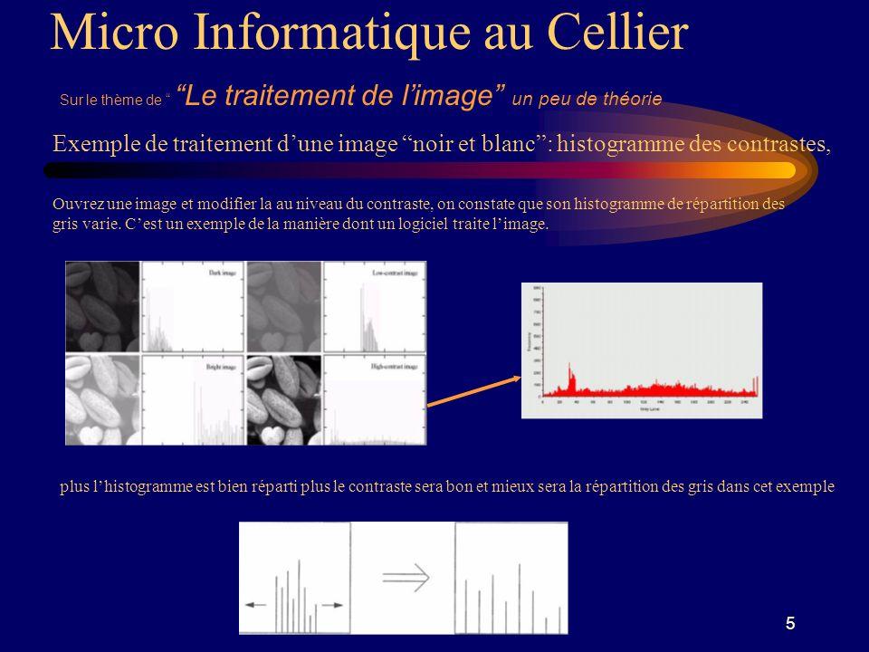 5 Micro Informatique au Cellier Sur le thème de Le traitement de limage un peu de théorie Exemple de traitement dune image noir et blanc: histogramme des contrastes, Ouvrez une image et modifier la au niveau du contraste, on constate que son histogramme de répartition des gris varie.