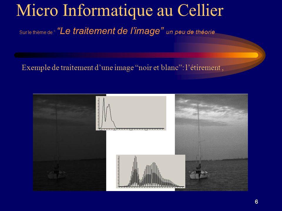 7 Micro Informatique au Cellier Sur le thème de Le traitement de limage un peu de théorie Exemple de traitement dune image noir et blanc: compression,