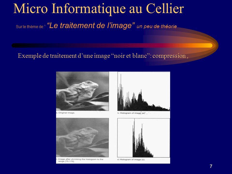 8 Micro Informatique au Cellier Sur le thème de Le traitement de limage un peu de théorie Exemple de traitement dune image noir et blanc: réduction du bruit par filtrage,