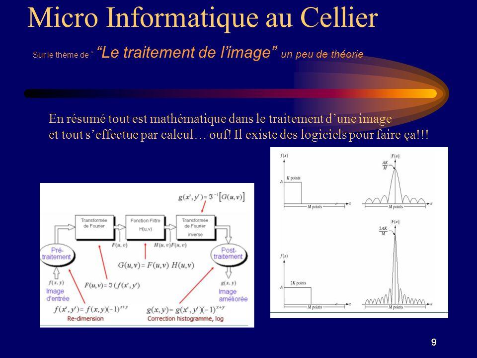 9 Micro Informatique au Cellier Sur le thème de Le traitement de limage un peu de théorie En résumé tout est mathématique dans le traitement dune image et tout seffectue par calcul… ouf.