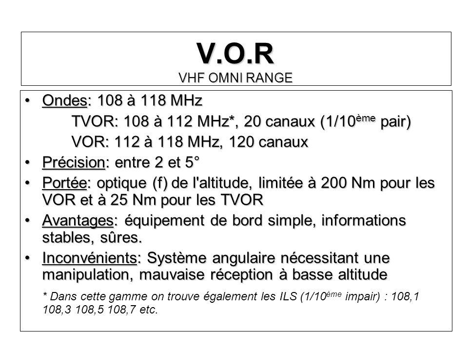 V.O.R VHF OMNI RANGE Ondes: 108 à 118 MHzOndes: 108 à 118 MHz TVOR: 108 à 112 MHz*, 20 canaux (1/10 ème pair) VOR: 112 à 118 MHz, 120 canaux Précision