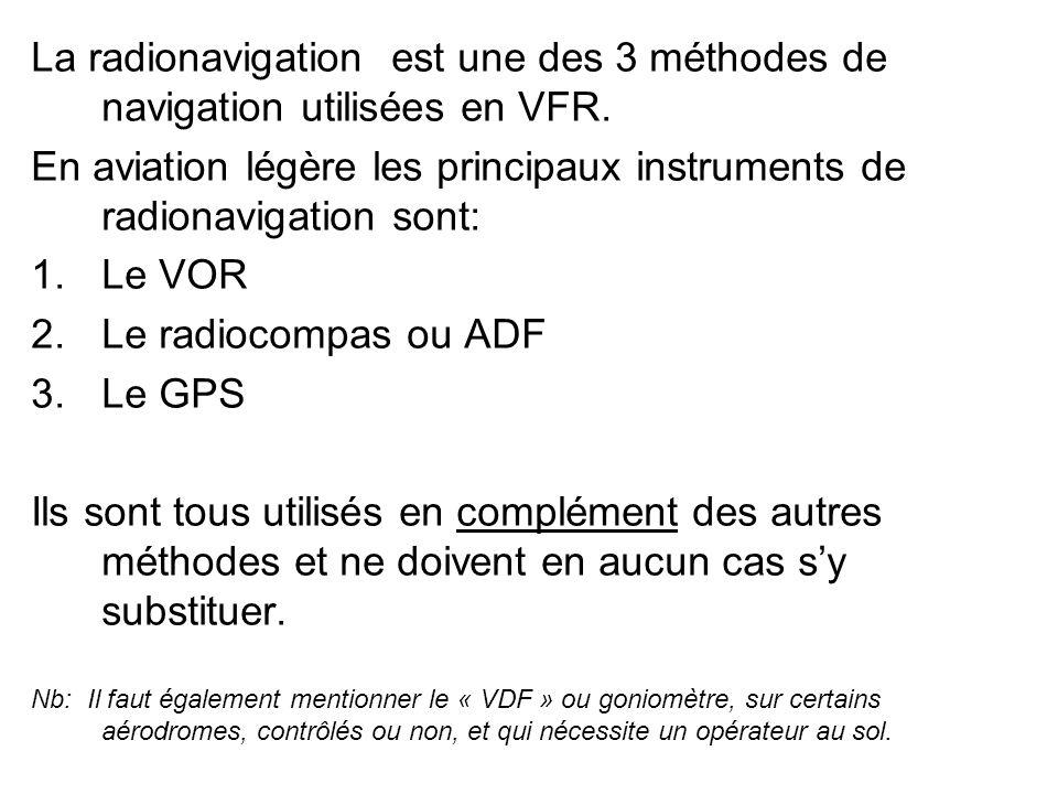 La radionavigation est une des 3 méthodes de navigation utilisées en VFR. En aviation légère les principaux instruments de radionavigation sont: 1.Le