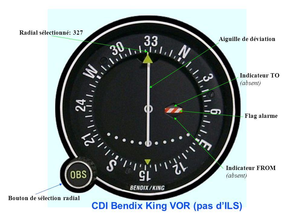 Bouton de sélection radial Aiguille de déviation Flag alarme Indicateur TO (absent) Indicateur FROM (absent) Radial sélectionné: 327 CDI Bendix King V