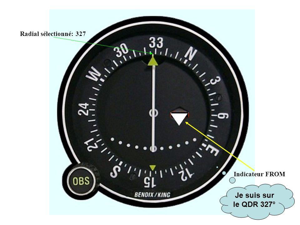 Indicateur FROM Radial sélectionné: 327 Je suis sur le QDR 327°