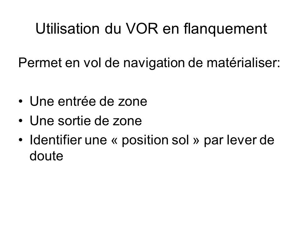 Utilisation du VOR en flanquement Permet en vol de navigation de matérialiser: Une entrée de zone Une sortie de zone Identifier une « position sol » p