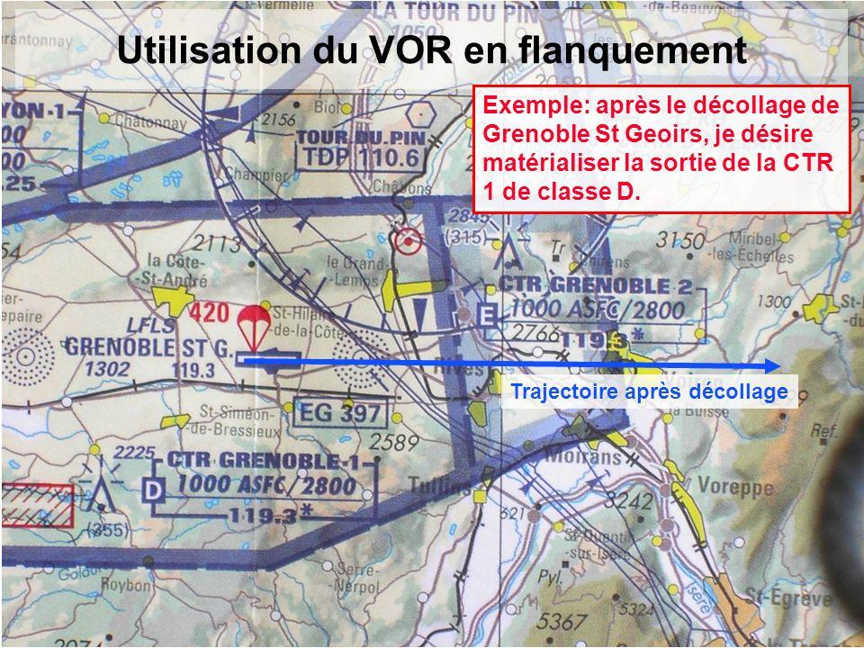 Utilisation du VOR en flanquement Exemple: après le décollage de Grenoble St Geoirs, je désire matérialiser la sortie de la CTR 1 de classe D. Traject