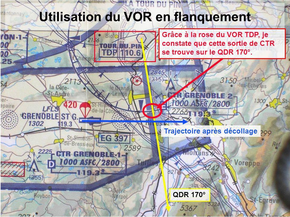 Utilisation du VOR en flanquement Grâce à la rose du VOR TDP, je constate que cette sortie de CTR se trouve sur le QDR 170°. QDR 170° Trajectoire aprè