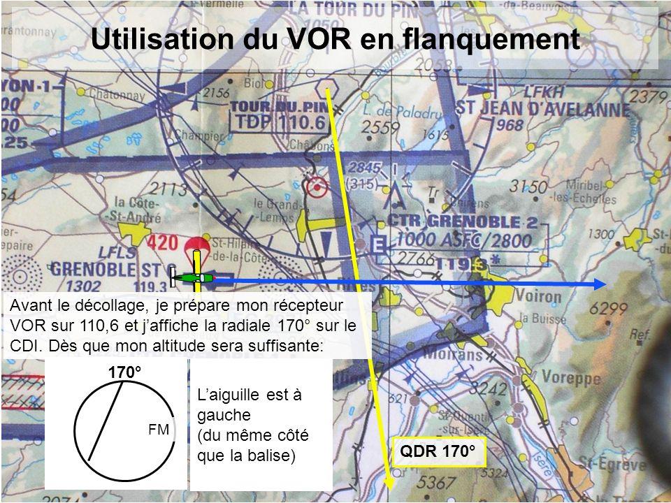 Utilisation du VOR en flanquement QDR 170° 170° FM Laiguille est à gauche (du même côté que la balise) Avant le décollage, je prépare mon récepteur VO