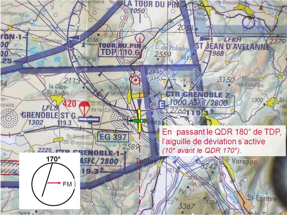 Utilisation du VOR en flanquement QDR 170° 170° FM En passant le QDR 180° de TDP, laiguille de déviation sactive (10° avant le QDR 170°).