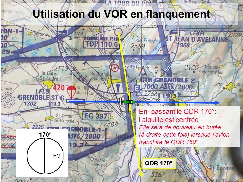 Utilisation du VOR en flanquement QDR 170° 170° FM En passant le QDR 170°: laiguille est centrée. Elle sera de nouveau en butée (à droite cette fois)