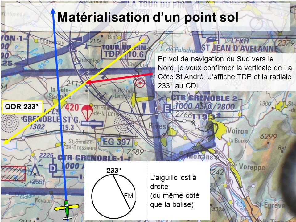 Matérialisation dun point sol QDR 233° 233° FM Laiguille est à droite (du même côté que la balise) En vol de navigation du Sud vers le Nord, je veux c