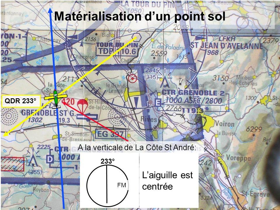 Matérialisation dun point sol QDR 233° 233° FM Laiguille est centrée A la verticale de La Côte St André:
