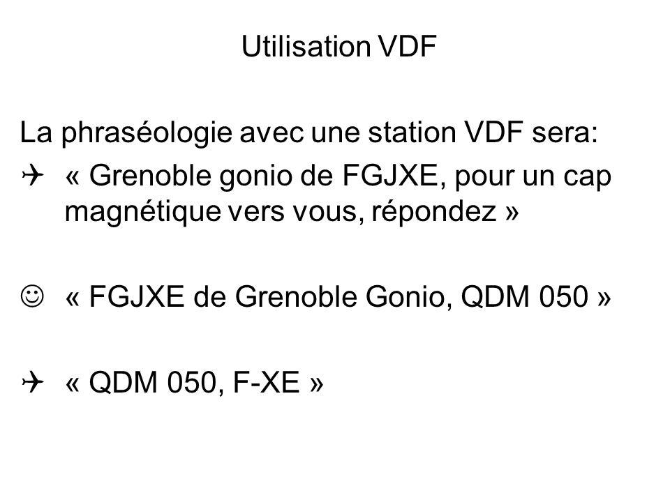 Utilisation VDF La phraséologie avec une station VDF sera: « Grenoble gonio de FGJXE, pour un cap magnétique vers vous, répondez » « FGJXE de Grenoble