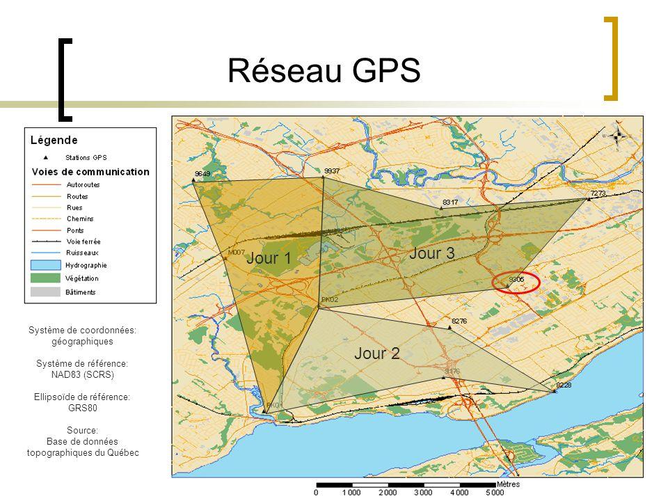 14 Réseau GPS Système de coordonnées: géographiques Système de référence: NAD83 (SCRS) Ellipsoïde de référence: GRS80 Source: Base de données topograp