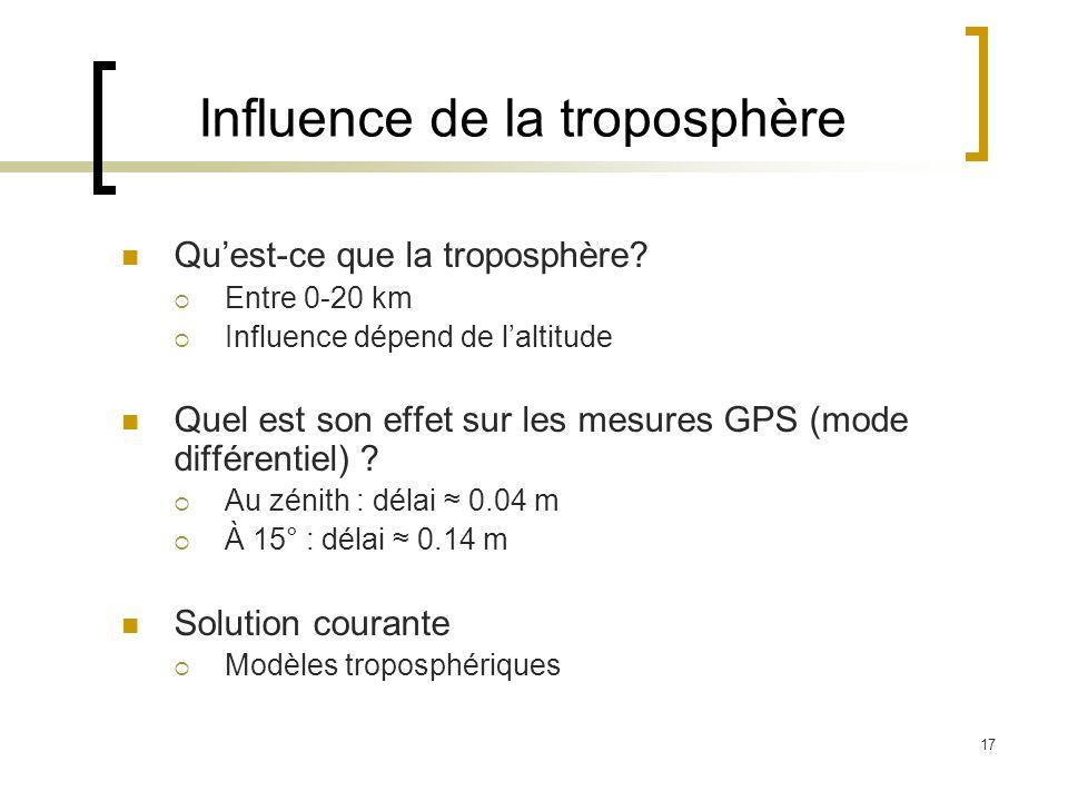 17 Quest-ce que la troposphère? Entre 0-20 km Influence dépend de laltitude Quel est son effet sur les mesures GPS (mode différentiel) ? Au zénith : d