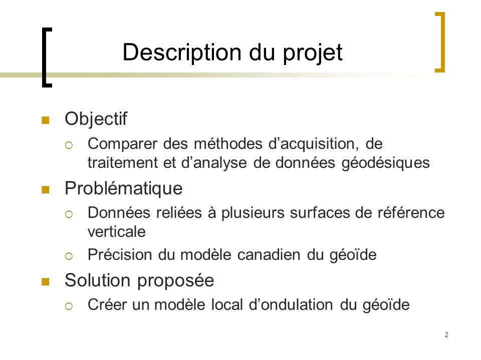 2 Description du projet Objectif Comparer des méthodes dacquisition, de traitement et danalyse de données géodésiques Problématique Données reliées à