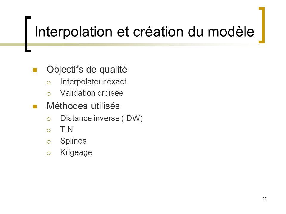 22 Interpolation et création du modèle Objectifs de qualité Interpolateur exact Validation croisée Méthodes utilisés Distance inverse (IDW) TIN Spline