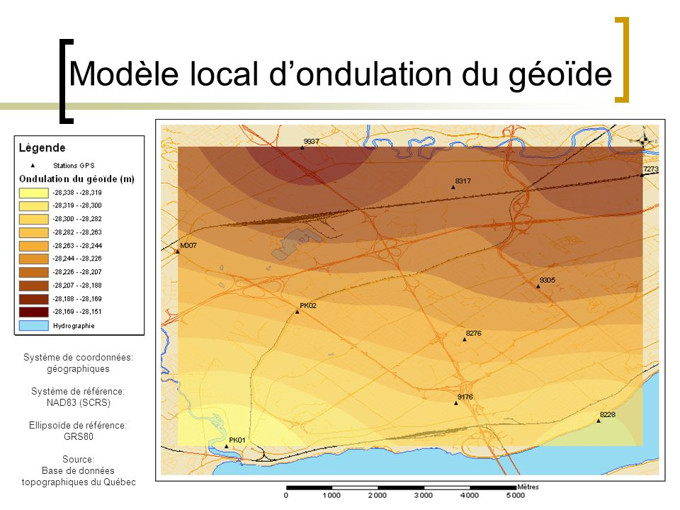 23 Modèle local dondulation du géoïde Système de coordonnées: géographiques Système de référence: NAD83 (SCRS) Ellipsoïde de référence: GRS80 Source: