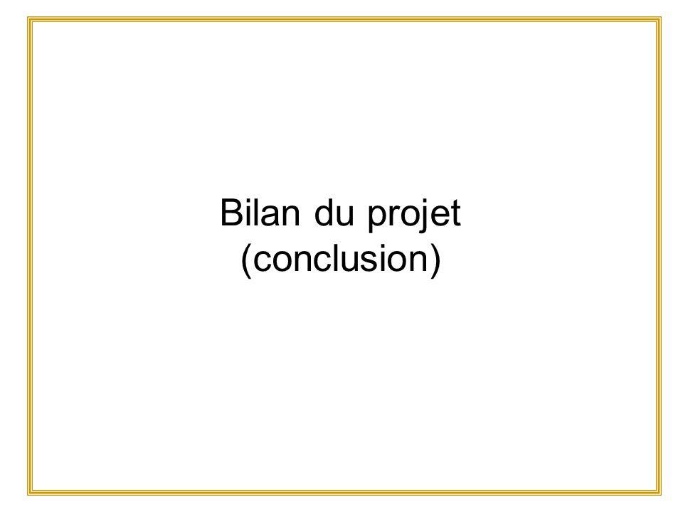 Bilan du projet (conclusion)