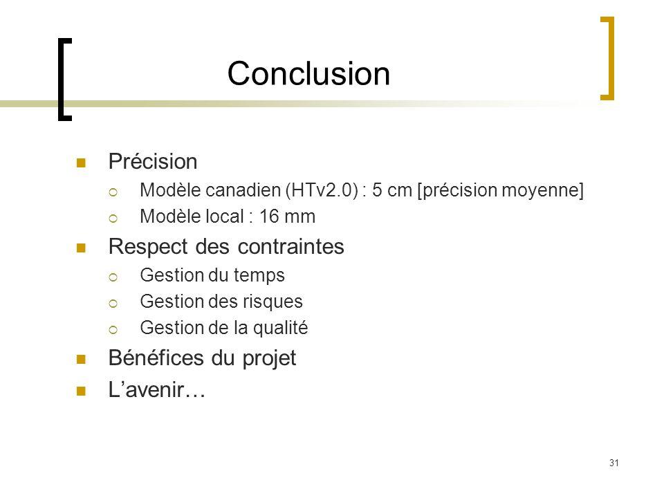 31 Conclusion Précision Modèle canadien (HTv2.0) : 5 cm [précision moyenne] Modèle local : 16 mm Respect des contraintes Gestion du temps Gestion des