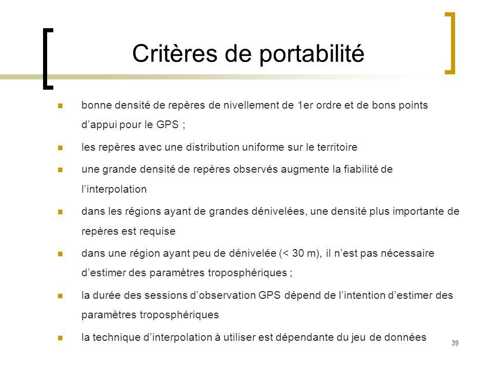 39 Critères de portabilité bonne densité de repères de nivellement de 1er ordre et de bons points dappui pour le GPS ; les repères avec une distributi
