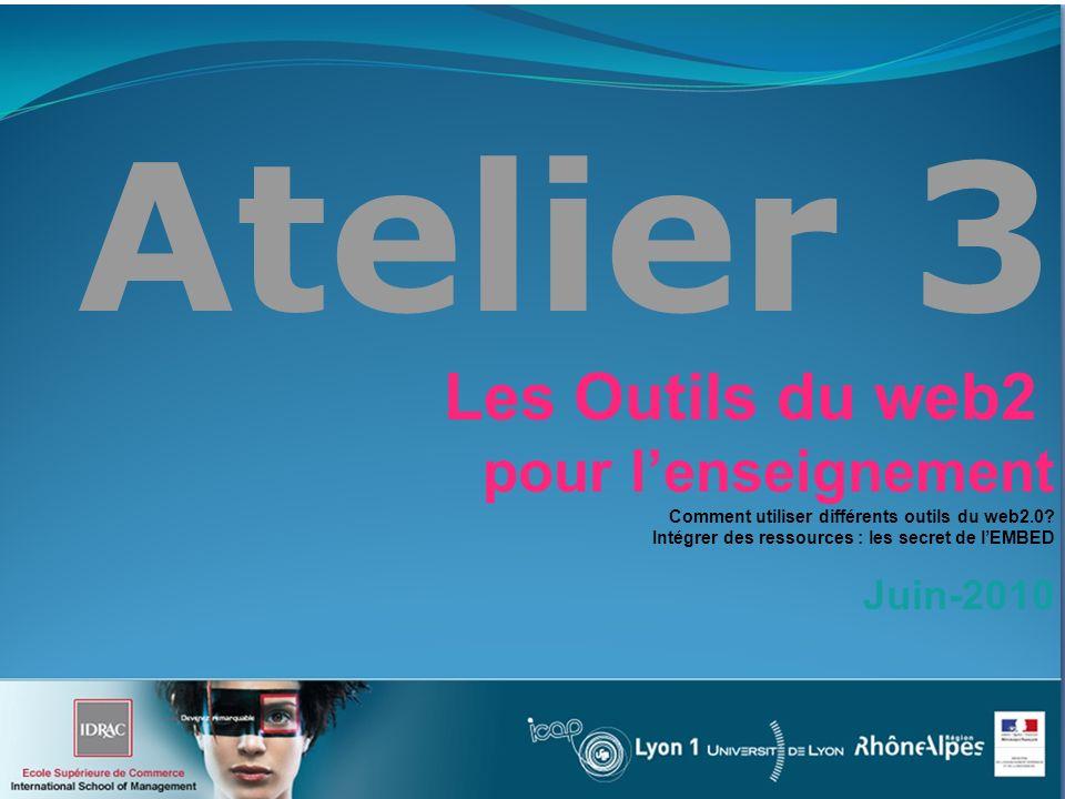Atelier 3 Les Outils du web2 pour lenseignement Comment utiliser différents outils du web2.0.