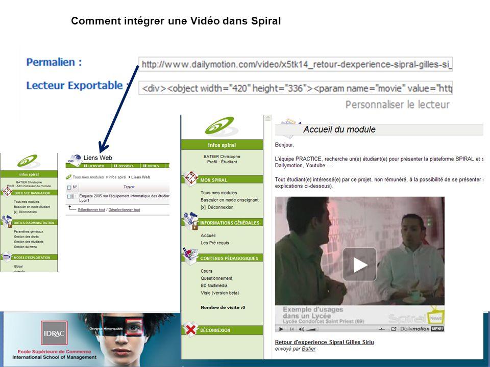 Atelier 7 : Spiral et le web2 Christophe BATIER Comment intégrer une Vidéo dans Spiral