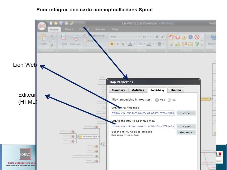 Pour intégrer une carte conceptuelle dans Spiral Lien Web Editeur (HTML)