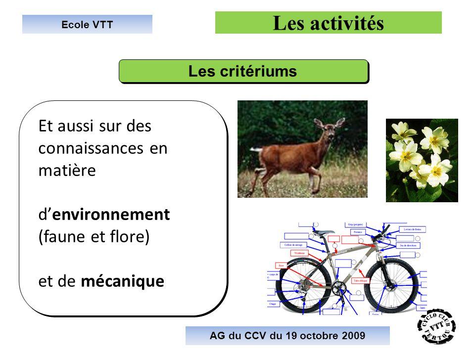 Ecole VTT Les activités Et aussi sur des connaissances en matière denvironnement (faune et flore) et de mécanique Et aussi sur des connaissances en ma